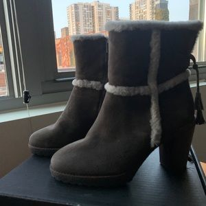 Frye Jen Shearling Short Boot- Smoke Gray